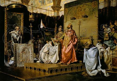 MADRID MADRID SENADO-PINTURA LA CONVERSION DE RECAREDO-587 -S XIX- REALISMO ESPAÑOL obra de  MUÑOZ DEGRAIN 1840/1924